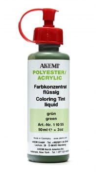 Краситель зеленый для полиэфирного клея жидкий 50мл Akemi - фото 10467