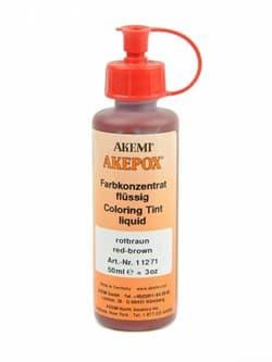 Краситель красно-коричневый для эпоксидного клея Akepox жидкий 0,05л Akemi - фото 10802